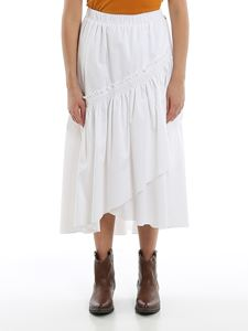 Twin-Set - Poplin midi skirt in white