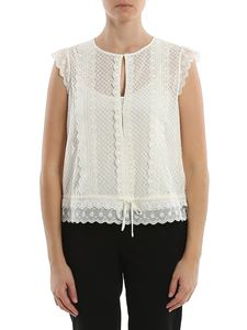 Twin-Set - Crepe and broderie anglaise top in color cream