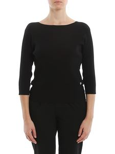 MY TWIN Twinset - Ribbed jersey sweater in black