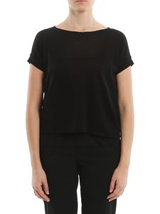 MY TWIN Twinset - Cotton and linen Tee style boxy sweater in black