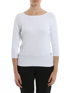 MY TWIN Twinset - Ribbed jersey sweater in white