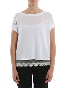 MY TWIN Twinset - Cotton and linen Tee style boxy sweater in white