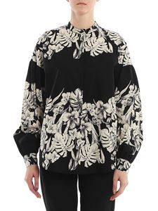 Twin-Set - Floral printed poplin shirt in black