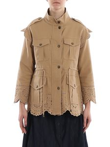 Twin-Set - Embroidered multi pocket jacket in camel color