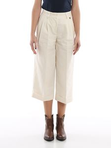 Twin-Set - Wide leg cropped pants in white