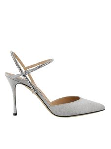 Sergio Rossi - Rhinestone strap pumps in silver color