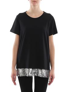 MY TWIN Twinset - Sequined oversized T-shirt in black