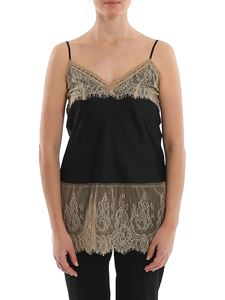 MY TWIN Twinset - Satin and lace tank top in black