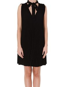 Red Valentino - Sleeveless pleated dress in black