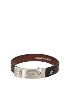 Alexander McQueen - Identity leather bracelet in black
