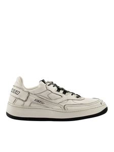 Premiata - Leather vintage effect sneakers in white