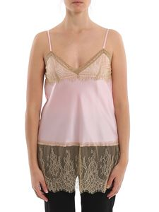 MY TWIN Twinset - Satin with contrasting lace tank top in pink