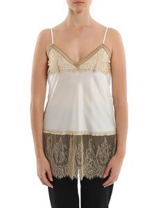 MY TWIN Twinset - Satin tank top with contrasting lace in white