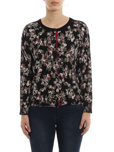 MY TWIN Twinset - Floral printed cardigan in black