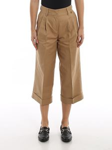 Twin-Set - Wide leg cropped pants in sand color