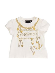 Versace Young - T-shirt bianca con logo 90s vintage
