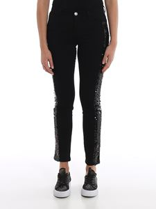 MY TWIN Twinset - Sequin details skinny jeans in black