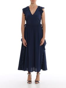 Twin-Set - Ruffled long dress in blue
