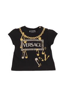 Versace Young - T-shirt nera con logo 90s vintage