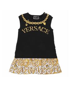 Versace Young - Black and gold overlay-effect dress