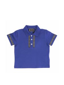 Versace Young - Blue polo shirt with logo bands