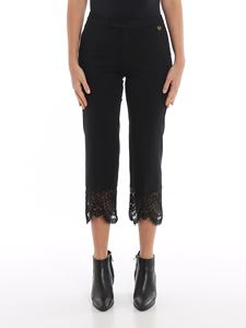 Twin-Set - Cropped pants with lace inserts in black