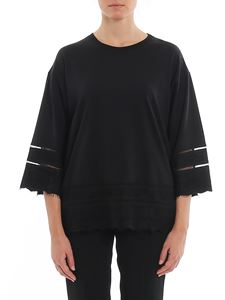 Twin-Set - Lace detailed oversized T-shirt in black
