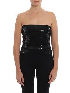 MY TWIN Twinset - Sequined cropped top in black