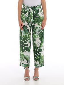 Twin-Set - Tropical print cropped pants in green