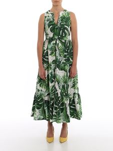 Twin-Set - Tropical printed long dress in green