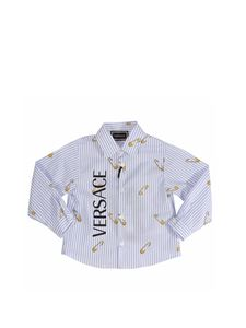 Versace Young - Light blue striped shirt with logo print