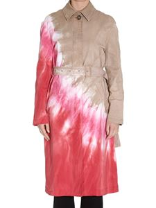MSGM - Tie dye effect trench coat in pink