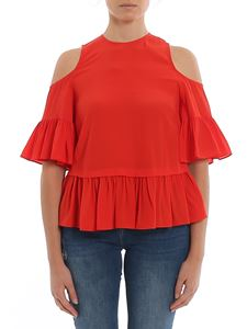 Twin-Set - Cut out shoulders blouse in red