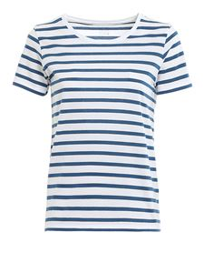 Majestic Filatures - Striped t-shirt in blue and white