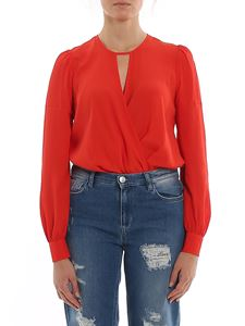 Twin-Set - Crossed neckline body in red