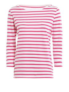Majestic Filatures - Three quarter sleeve striped t-shirt in red and white