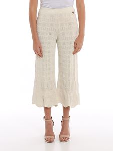 Twin-Set - Lace effect cropped pants in white