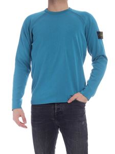 Stone Island - Reversible crewneck pullover in turquoise and black