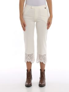 Twin-Set - Lace detailed cropped pants in white