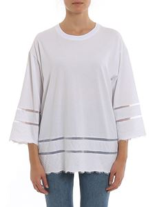 Twin-Set - Lace detailed oversized T-shirt in white