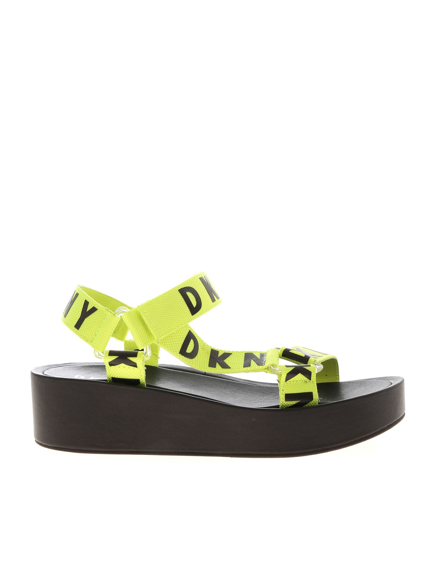 Dkny AYLI MULTI STRAP SANDALS IN BLACK AND NEON YELLOW