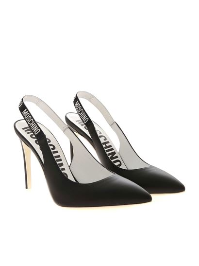 Moschino - Elastic Band pointed slingback in black