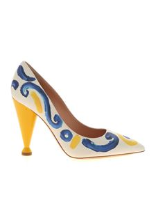Moschino - Majolica print pumps in ice color