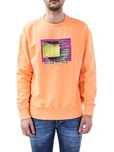 Diesel - Rubber print crewneck sweatshirt in orange