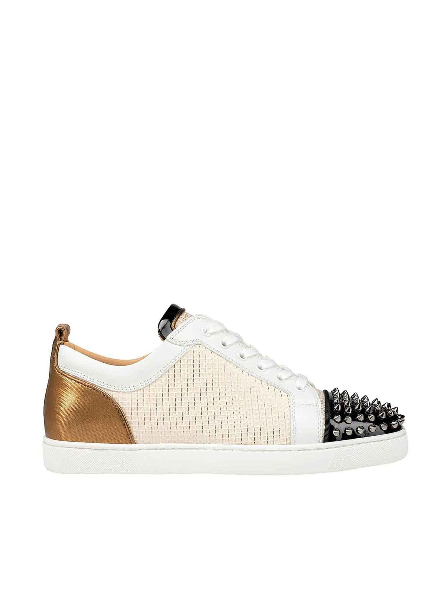 Christian Louboutin LOUIS JUNIOR SPIKES ORLATO STUDDED SNEAKERS IN BEI