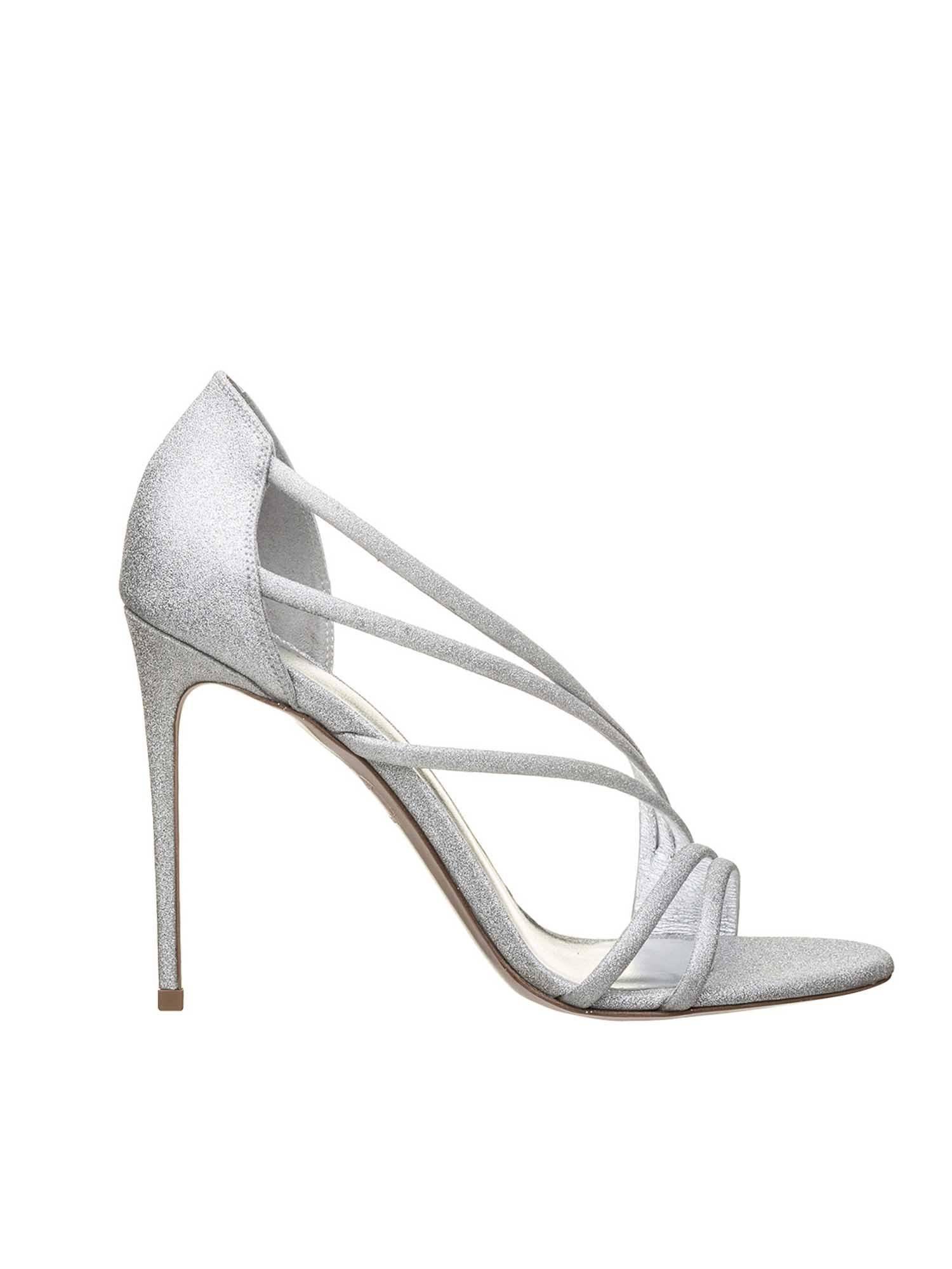 Le Silla SCARLET 120 MM SANDALS IN SILVER