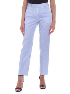 Ermanno Scervino - Striped crop pants in white and light blue