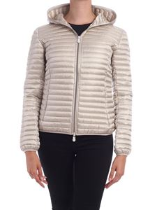 Save the duck - Logo patch down jacket in dove grey color