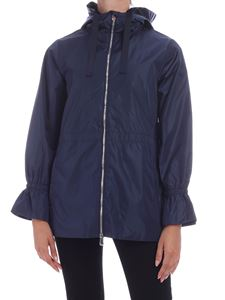Save the duck - Tone-on-tone logo patch down jacket in blue