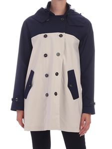 Save the duck - Color block trench coat in blue and beige